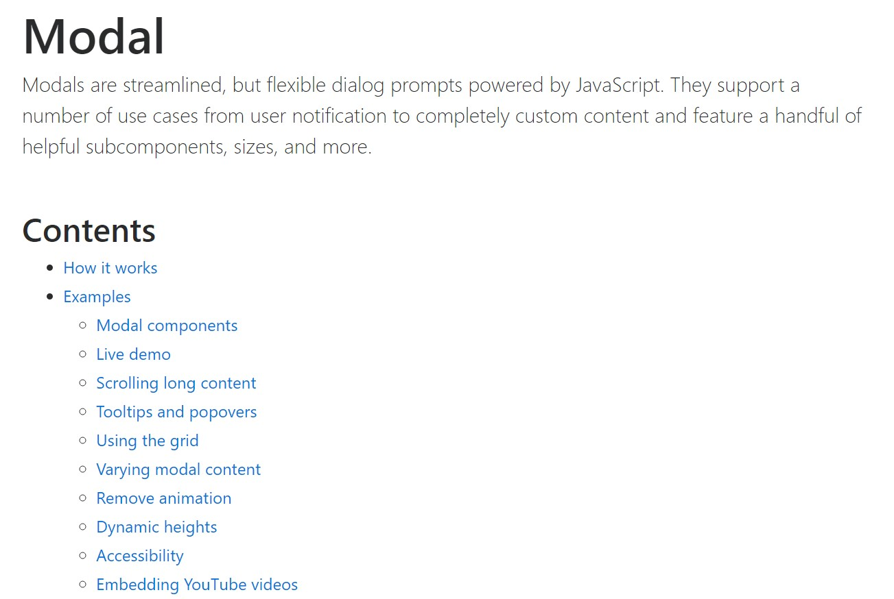 Bootstrap Modal Popup:  authoritative documentation
