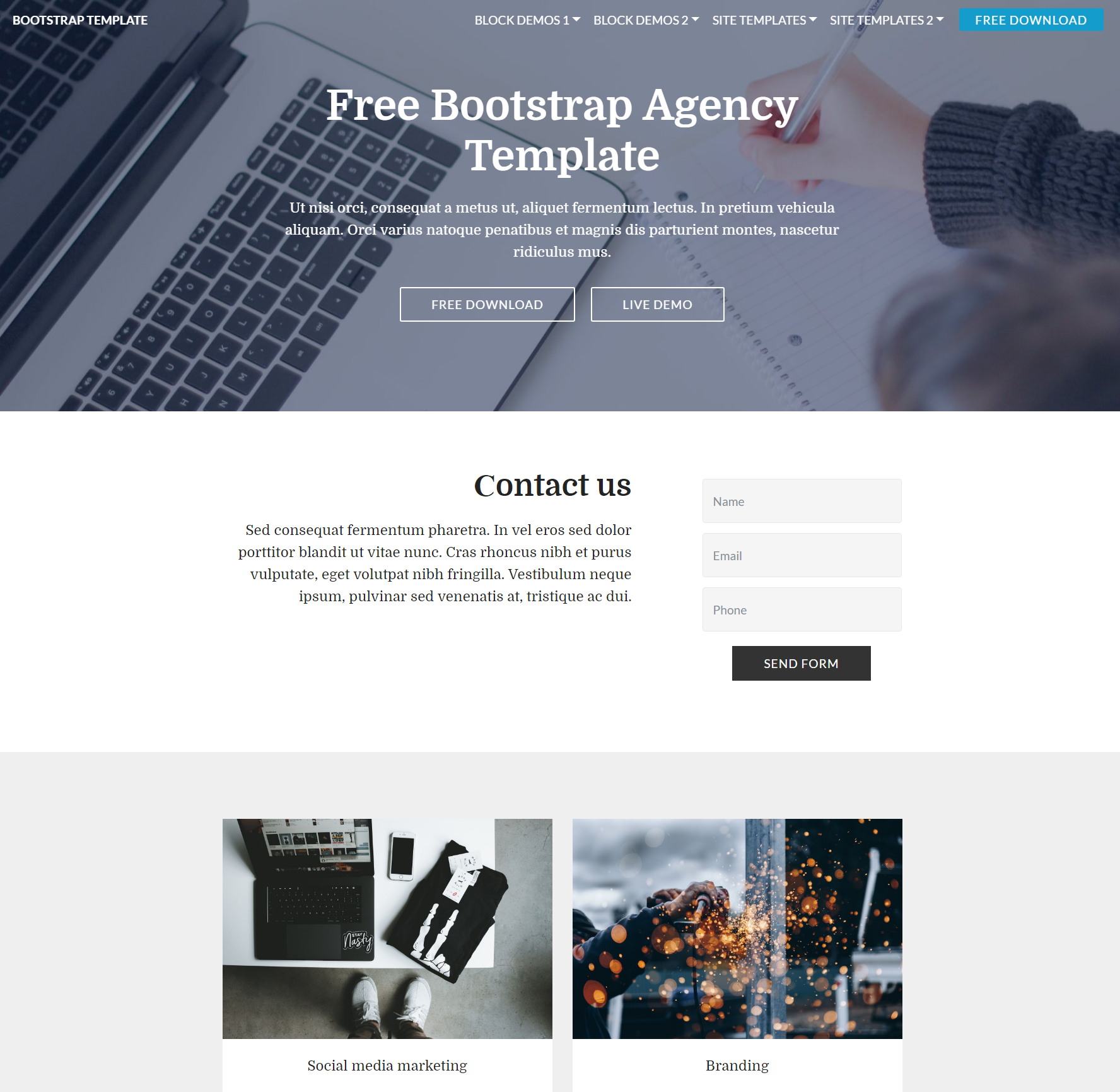 HTML Bootstrap  Agency Themes